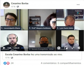 Notícia: ACIAI participa de LIVE da Escola Estadual 'Cesarino Borba'