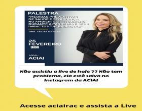 Notícia: Assista a Live da Dra. Talita Garcez