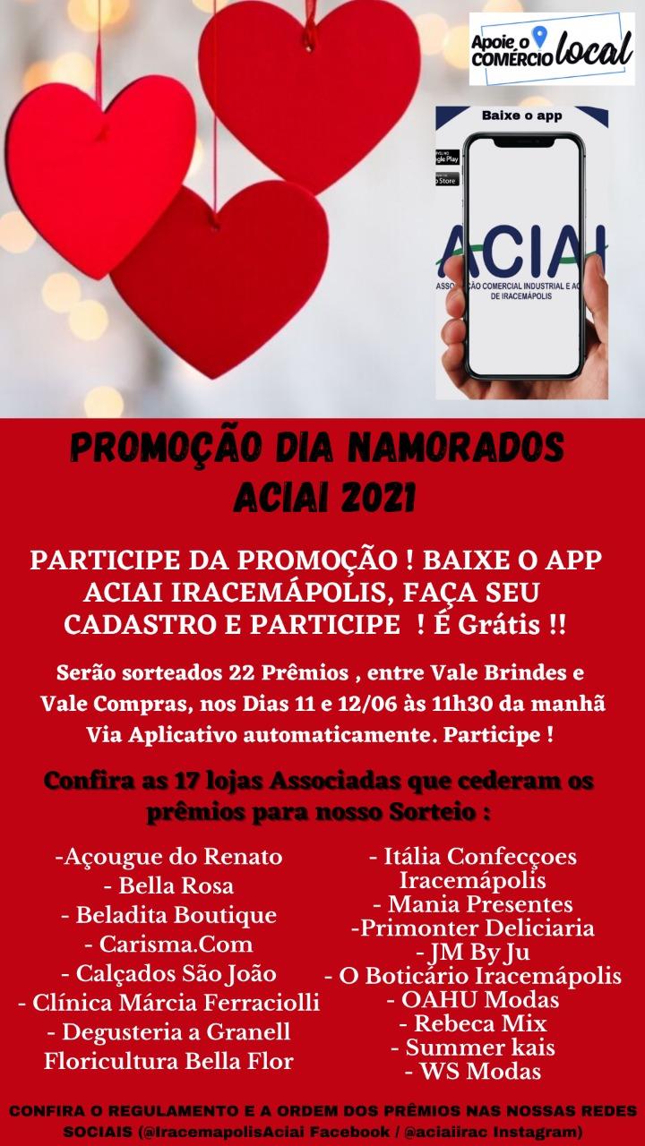 Notícia: Lista dos prêmios Promoção Dia dos Namorados ACIAI 2021