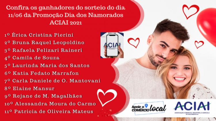 Notícia: Confira os ganhadores do dia 11/06/2021 da Promoção Sorteio Dia dos Namorados ACIAI 2021