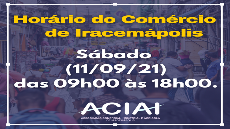 Notícia: Horário do Comércio de Iracemápolis.
